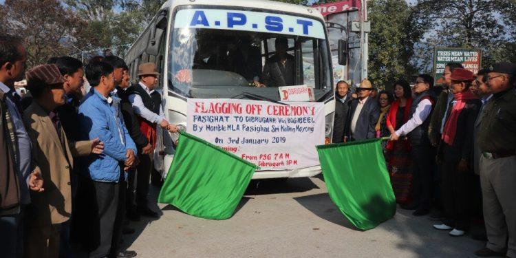 Moyong flags of Pasighat-Dibrugarh APST Bus Service