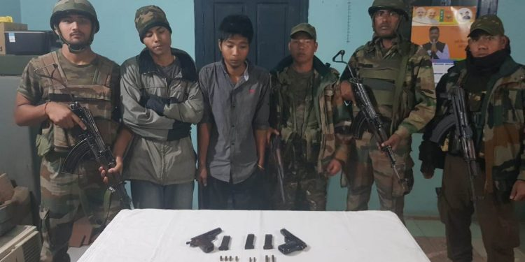 The detained NSCN (R) rebels in the custody of security forces