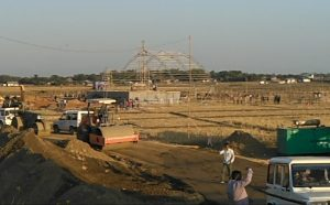 Post harvesting of paddy fields, acres of land being converted into an arena for holding more than two lakh people to hear PM speak on the outskirts of Silchar