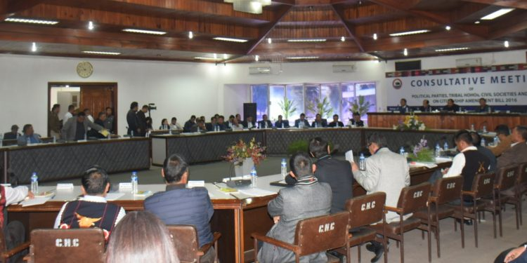 Consultative meeting of Political parties and other organisations in progress in Kohima on Thursday.