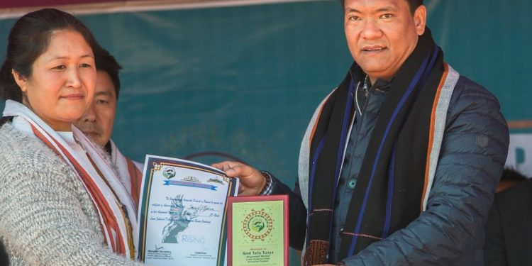 CM Pema Khandu during the launch of Arunachal Rising campaign at Ziro on Monday.