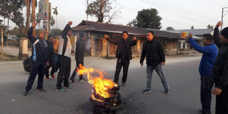 ST bill issue: Bandh supporters in Kokrajhar burn tyres