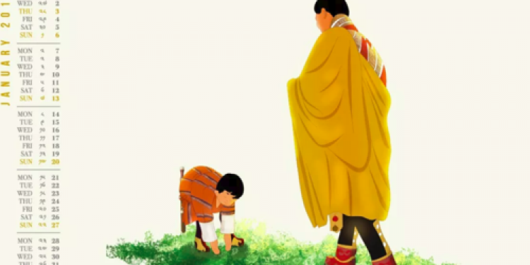 Heartwarming illustration of Bhutan's king and prince in Jan calendar win hearts
