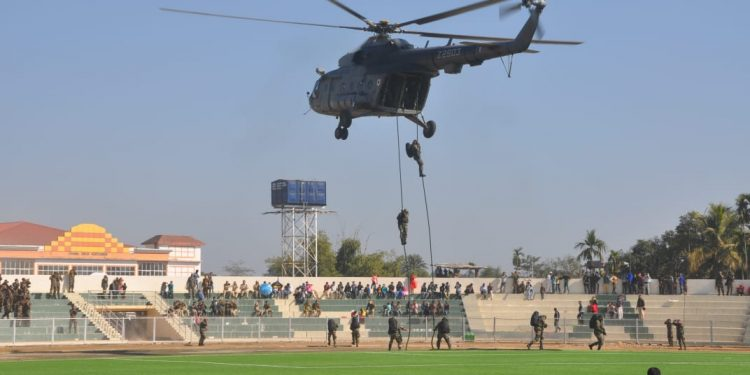 Helicopter show on the inaugural day of police commando meet in Diphu, Assam.  Image credit: Defence PRO,Kohima.