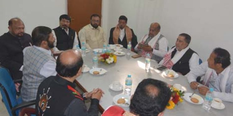 JD(U) delegation led by party general secretary KC Tyagi and AGP president Atul Bora ,former chief minister of assam Praffula kumar Mahanta and other agp leader discuss about ongoing Citizenship (Amendment) Bill in Assam at AGP head office Guwahati.