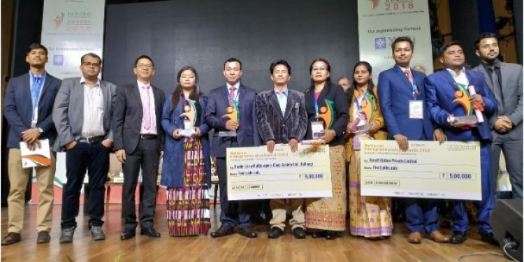 National Awardees from Northeast with members of IIT Guwahati(Regional Partner) at National Entrepreneurship Awards ceremony in New Delhi.
