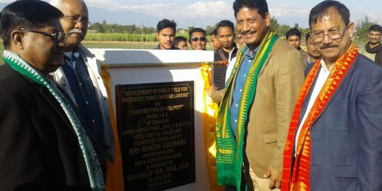 Assam's minister Rihon  Daimari lays foundation of helipad in Udalguri. Image: Northeast Now