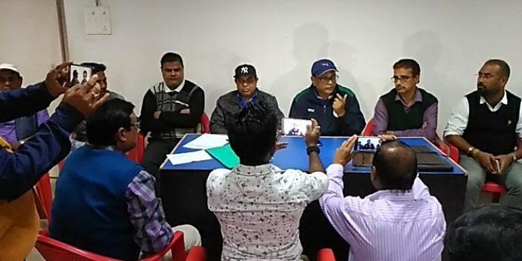 Cachar district coordinator for SSPF, Sujoy Dutta Roy, briefing the media in Silchar on Saturday. Image: Northeast Now