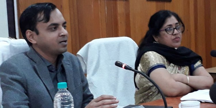DC, Darrang , Ghanashyam Dass (Left) interacting media in presence of ADC Kalpana Deka