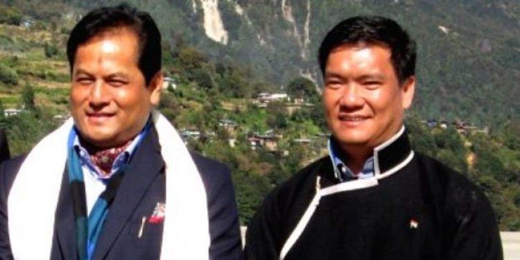 File image of Sarbananda Sonowal and Pema Khandu