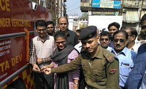 Susmita Dev, MP from Silchar handing over keys of a mordern fire brigade vehicle to Fire Officer on Tuesday