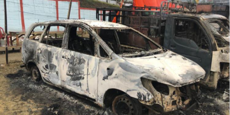 Musician Alobo Naga's burnt down car with equipments
