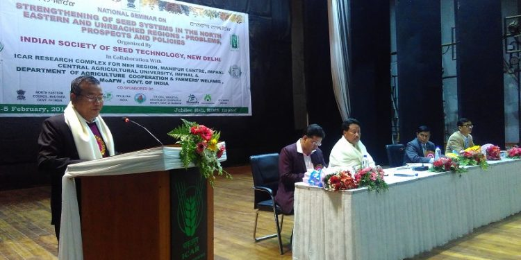 manipur agriculture minister V Hangkhalian speaking on last day of 3 day national seminar on seeds system in Imphal on Monday (3)