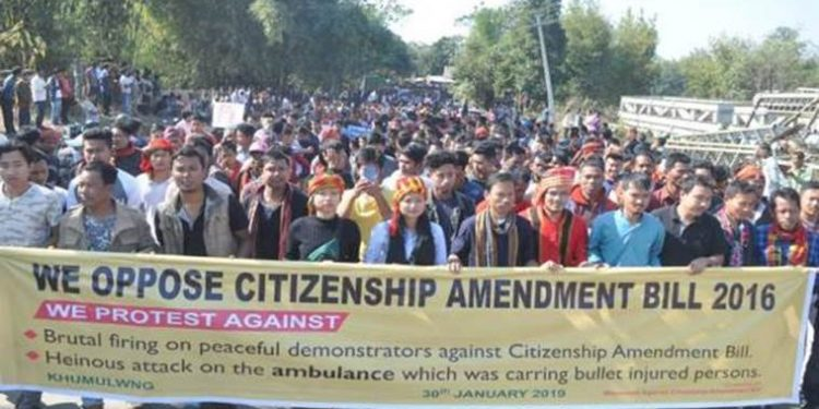 Anti-citizenship Bill protest in Tripura. Image credit: Indian Express