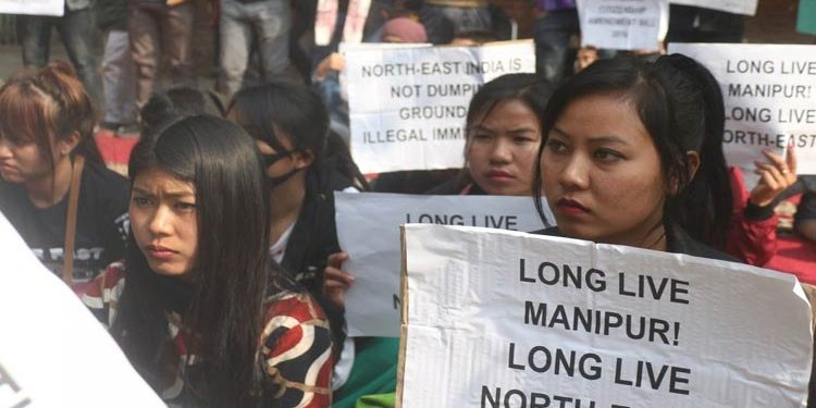 Hundreds of women vendors  in Imphal staged  protest on Saturday.