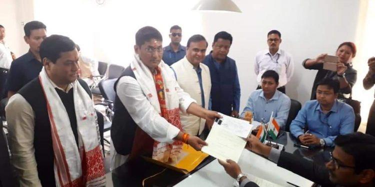 Incumbent MP from Lakhimpur, Pradan Baruah files nomination for LS polls Image Credit: Northeast Now