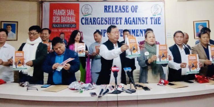 Congress president Takam Sanjoy realising the 'chargesheet' in Itanagar on Friday.