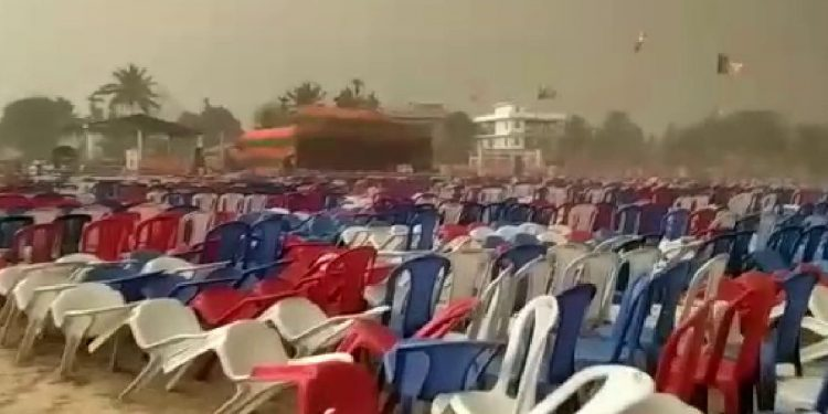 Bad weather in Borjhar, Guwahati at the BJP rally for Queen Ojha Image Credit: pratidintime.com