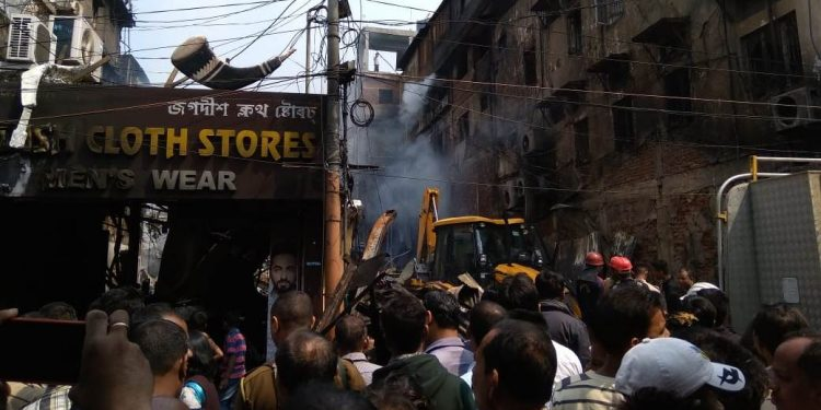 Three shops were fully damaged and one partially affected in the fire at New Market.