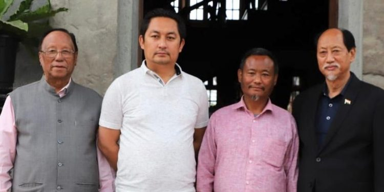 (From left) NDPP president Chingwang Konyak, former NPP MLAs Imnatiba and L. Khumo and chief minister Neiphiu Rio. Image: Northeast Now
