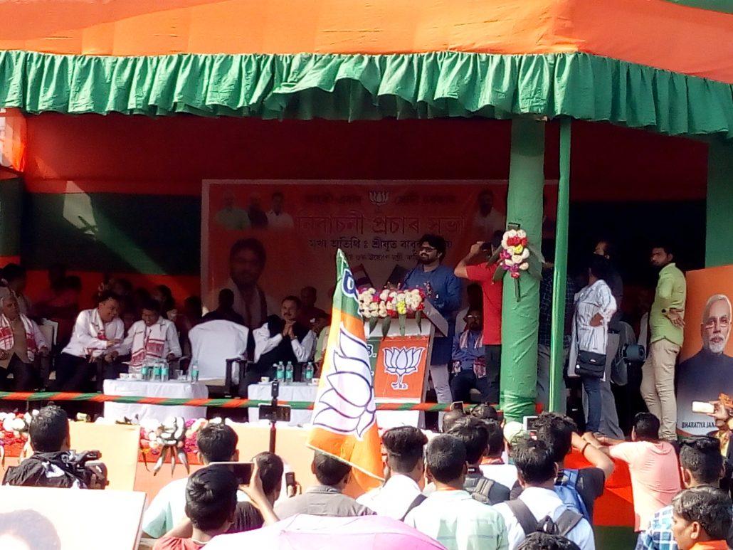 Union minister Babul Supriyo plays star campaigner for BJP at Tinsukia 4