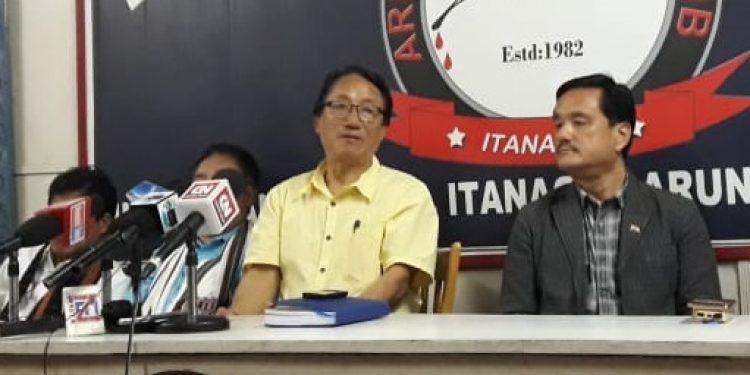 PPA chairman Kamin Ringu addressing a press conference in Itanagar. Image credit: Northeast Now