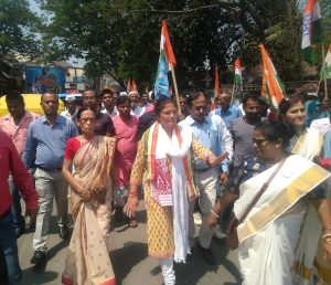 Sushmita Dev of the Congress marches on for DC Cachar's office to submit her nomination on Monday
