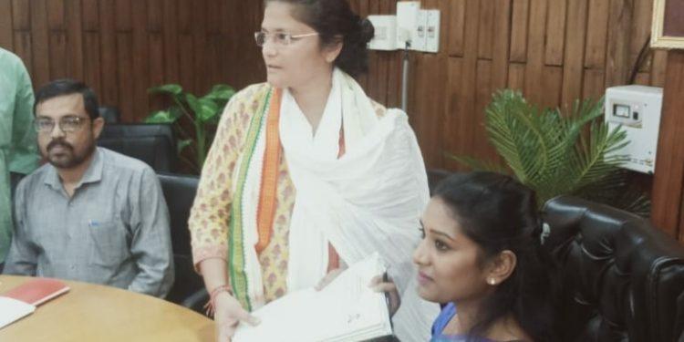 Sushmita Dev submitting her nomination to Laya Madduri, DC Cachar as well as RO for Silchar Lok Sabha seat