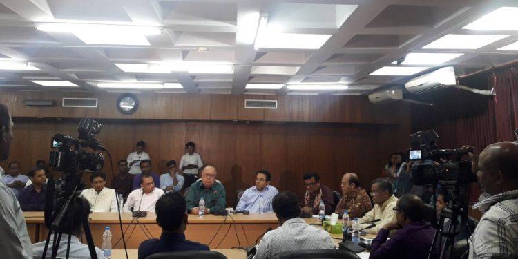 Bangladesh information minister Hasan Mahmud  with other dignitaries at the seminar in Dhaka.  Image credit: UNB