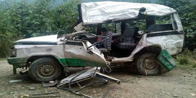 The wrecked Sumo Image Credit: arunachal24.in