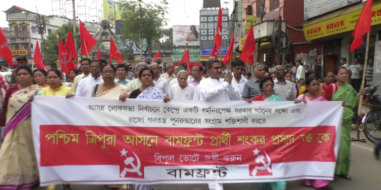CPI (M) candidate Shankar Prasad Datta participates in a procession in Agartala on Tuesday. Image: Northeast Now