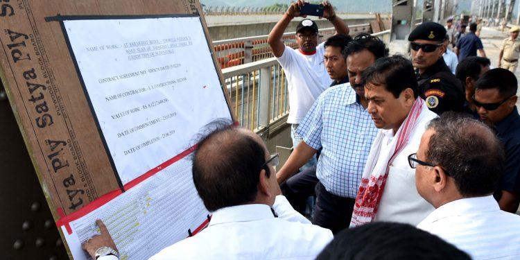CM Sarbananda Sonowal on old Saraighat bridge in Guwahati on Monday. Image credit: UB Photos