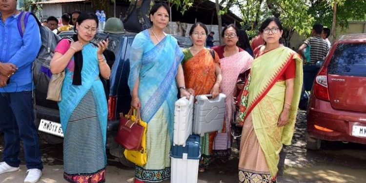 Women polling officers in Manipur Image Credit: Yahoo News