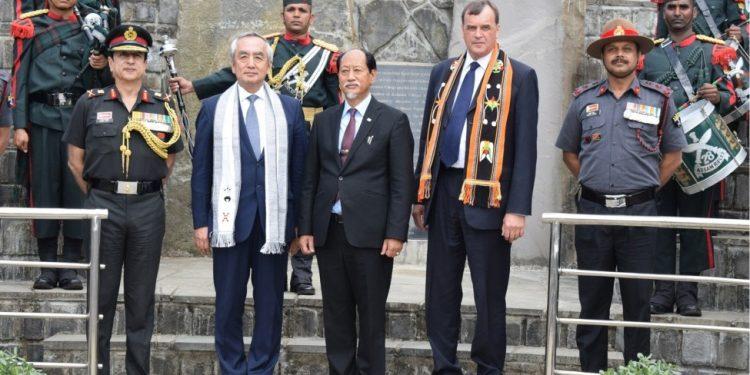 Nagaland chief minister Neiphiu Rio with Ambassador of Japan Kenji Hiramatsu in Kohima on Thursday.