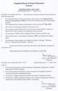 NBSE to conduct Nagaland State Entrance Examination on May 11 3