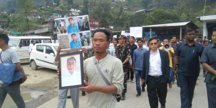 Protest in Khonsa market of Tirap district in Arunachal Pradesh Image Credit: Northeast Now