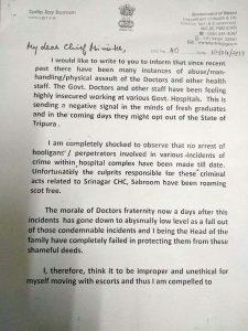 Tripura health minister Sudip Roy Barman surrenders police escort 1