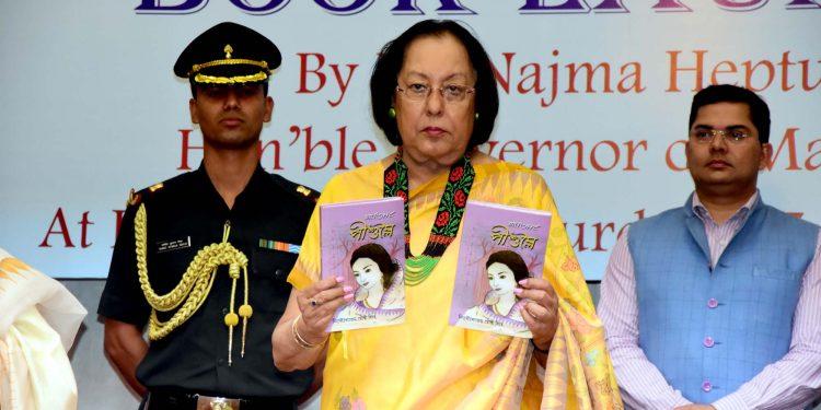 Manipur governor dr najma heptulla relasing manipuri novel peeshumlei in Imphal on saturday (3)