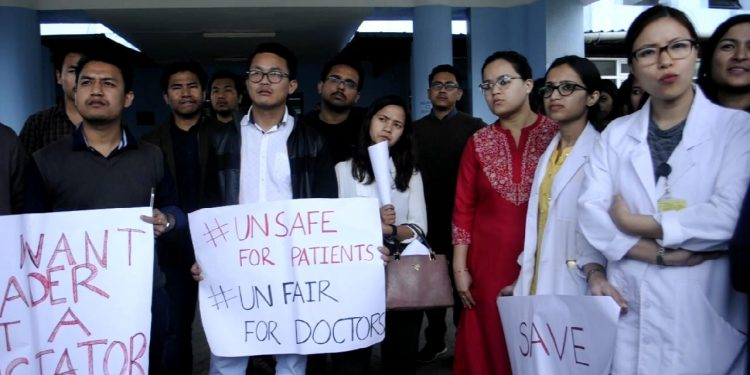 NEIGRIHMS doctors staging a protest in Shillong on Thursday.  Image: Northeast Now
