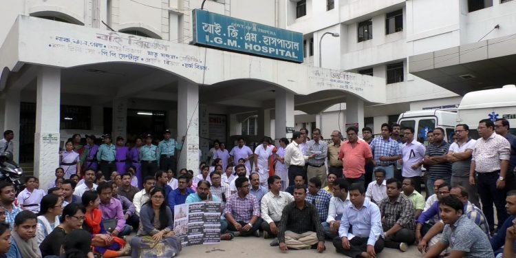 Doctors and medical staff outside Indira Gandhi Memorial (IGM) Hospital in Agartala