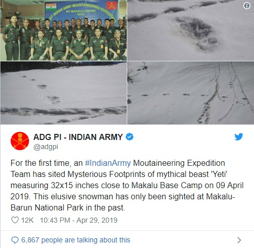 Indian Army claims to have spotted mysterious footprints of the 'Yeti' 1