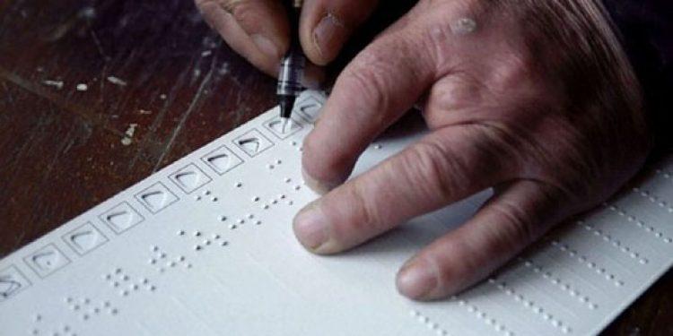 Dummy ballot in braille