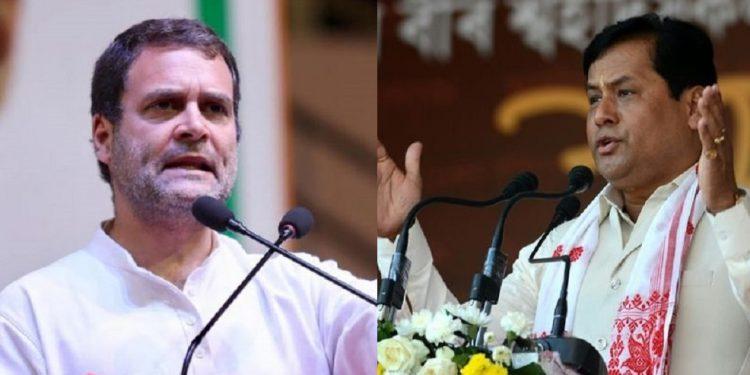 Rahul Gandhi and Sarbananda Sonowal File Images