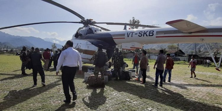 Police officials airlifted