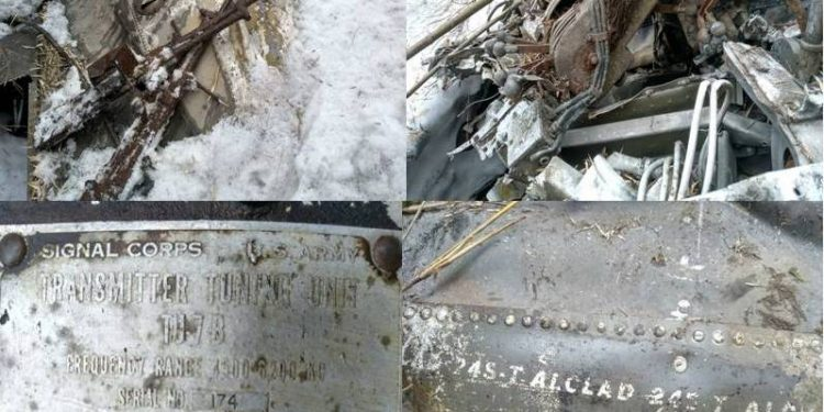 The recovered wreckage of a World War II vintage US Air Force aircraft.