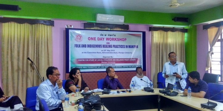 A functionary of a traditional healers' body in Manipur speaking at a workshop on folk and indigenous healing practices in Manipur on tuesday