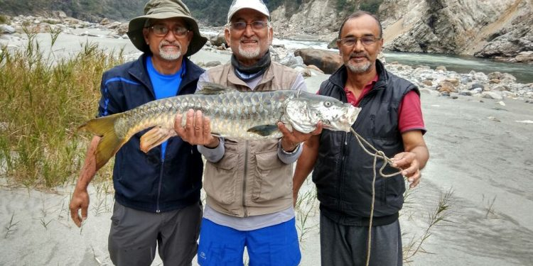 Anglers from ABACA with a catch in Jia Bhoroli