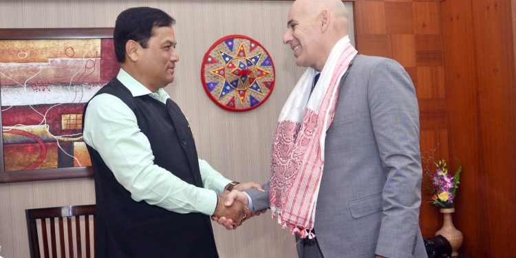 Chief minister of Assam Sarbananda Sonowal with Israeli Ambassador to India, Ron Malka at Brahmaputra State Guest House in Guwahati