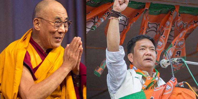 Dalai Lama (left) and Arunachal CM Pema Khandu.