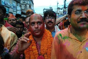 Dr Rajdeep Roy along with his supporters and party workers take part in his vijay rally in Silchar on Friday